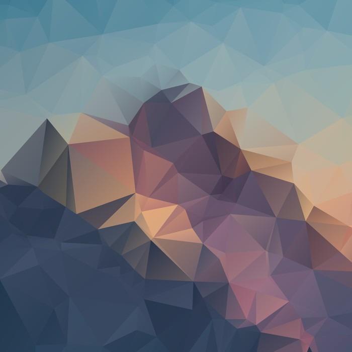 Vinylová Tapeta Abstraktní geometrické barevné pozadí. Vrcholky hor. Složení s trojúhelníky geometrickými tvary. polygon terén. - Krajiny