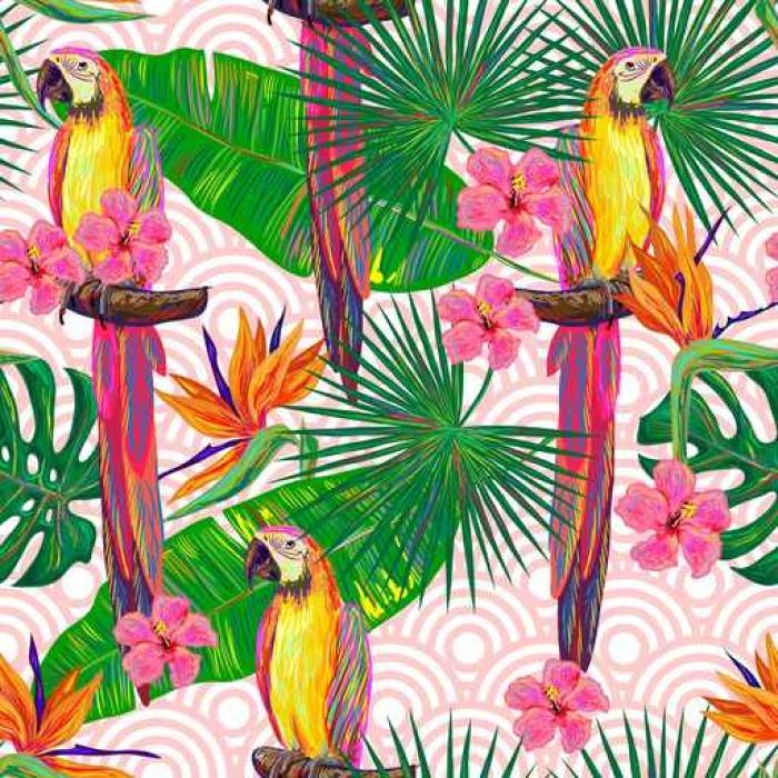 tableau sur toile mod le de jungle sans couture avec oiseaux exotiques de perroquets feuilles. Black Bedroom Furniture Sets. Home Design Ideas