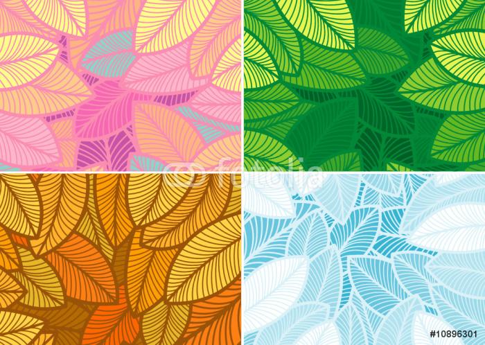 Vinylová Tapeta Design Čtyři roční období listí vzor. - Roční období