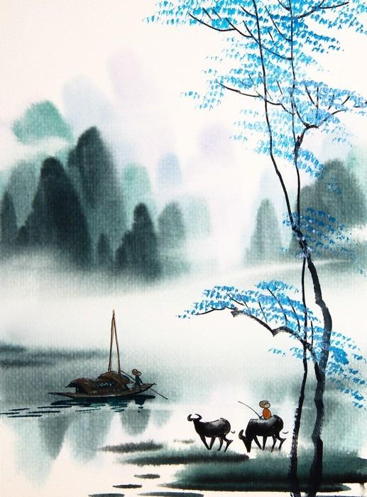 Vinylová Tapeta Čínské krajiny akvarel painting__ - Krajiny