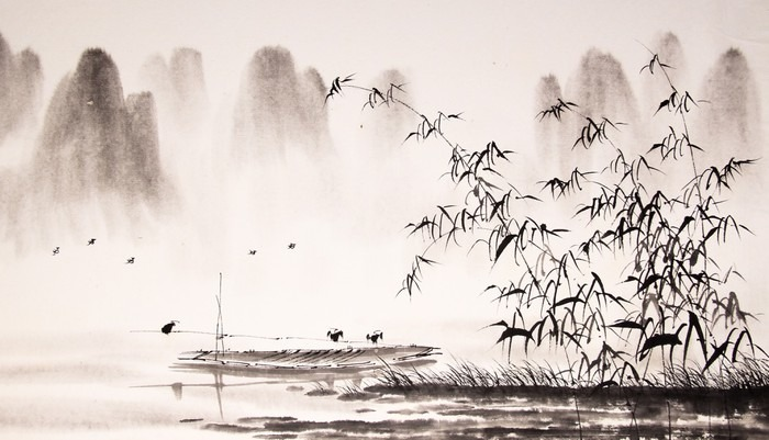 Chinese Landscape Ink Painting Wall Mural Pixers 174 We