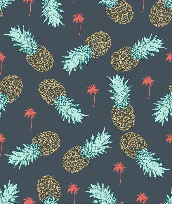 Adesivo per Tavolino Lack Pineapple seamless pattern - Stili di vita