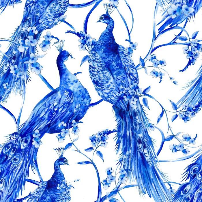 Carta da parati blu acquerello fiore seamless vintage con for Carta parati blu