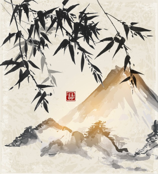 Bamboo And Mountains Traditional Japanese Ink Painting
