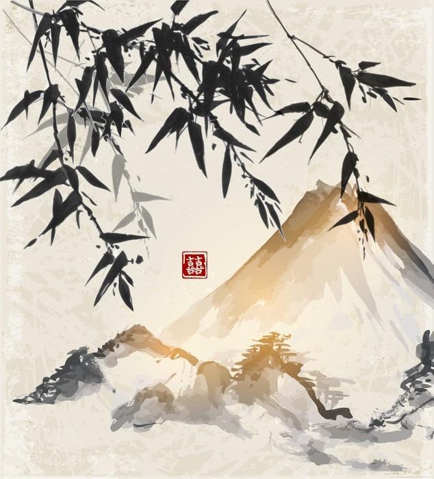 Leinwandbild bambus und berge traditionelle japanische for Japanisches schilf