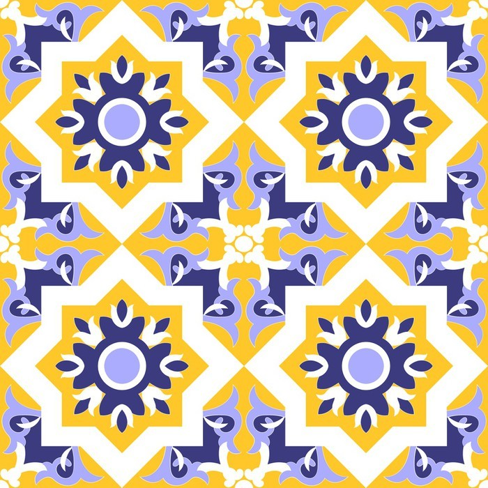 Ornamental Pattern Vector Seamless Blue Yellow And White