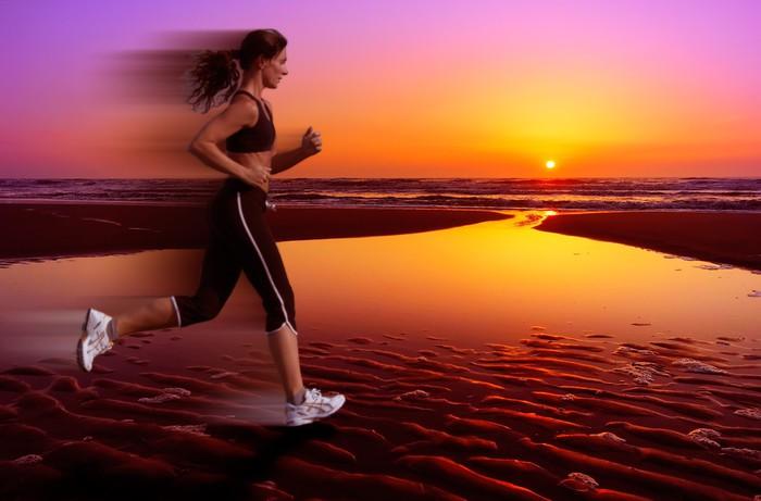 Leinwandbild Läuft und Sonnenuntergang - Themen