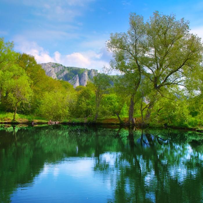 Vinylová Tapeta Krajina s jezerem - Evropa