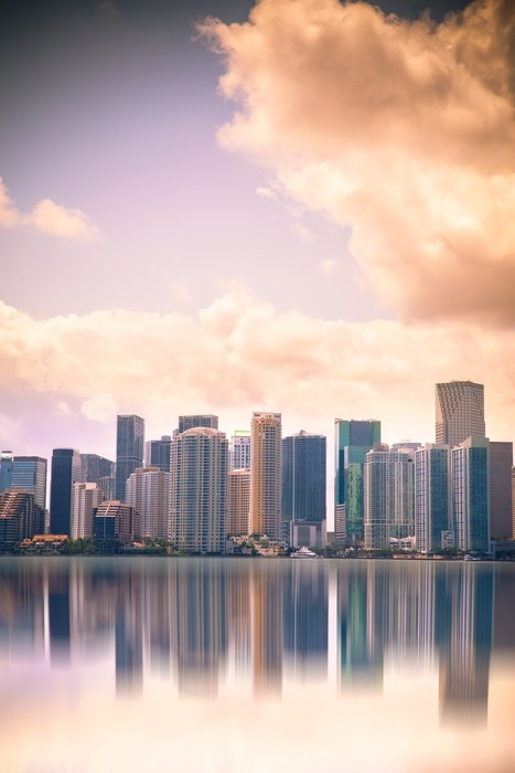 Miami Skyline At Dusk Sunset With Reflections Vinyl Wall Mural