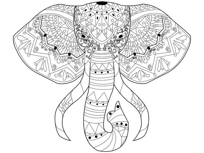 Vinilo Pixerstick Vector del elefante para colorear para adultos ...
