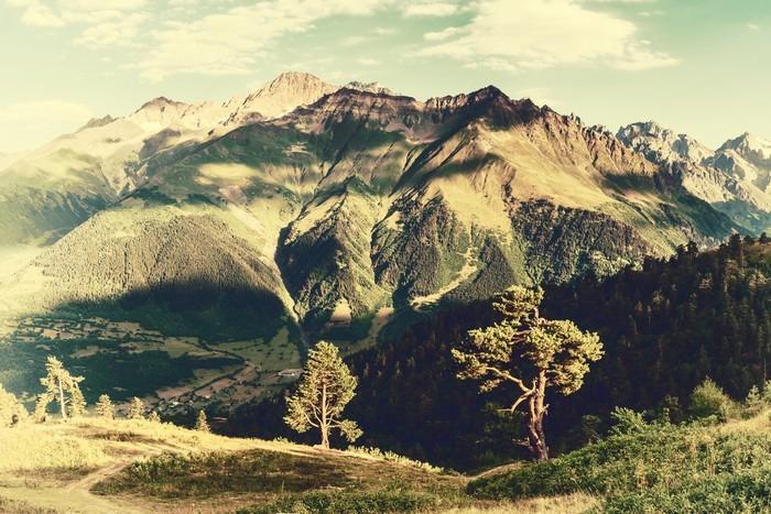 Vinylová Tapeta Vintage krajina se stromy a hory - Krajiny