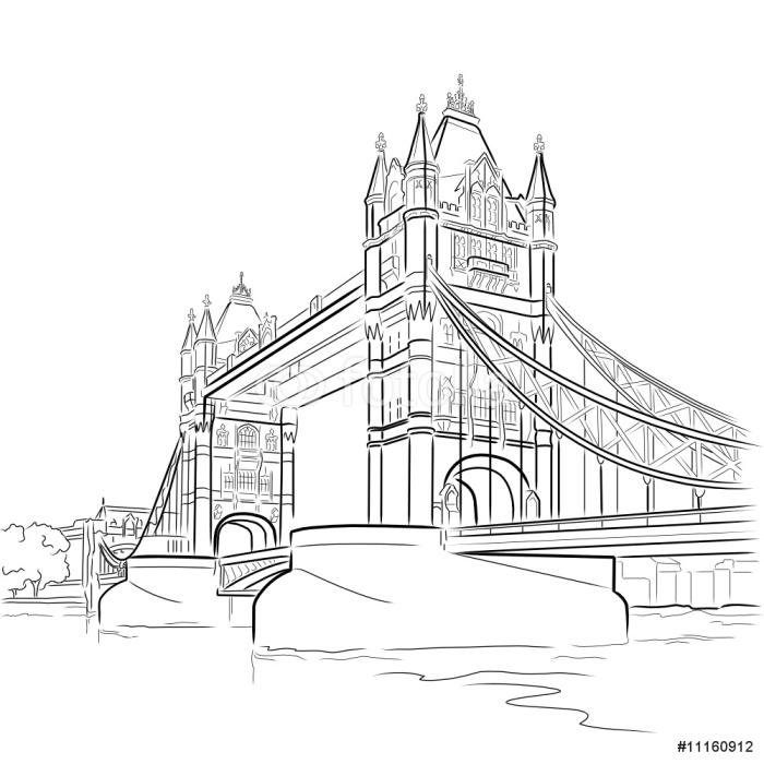 Line Drawing London : Vector drawing of tower bridge london uk wall mural