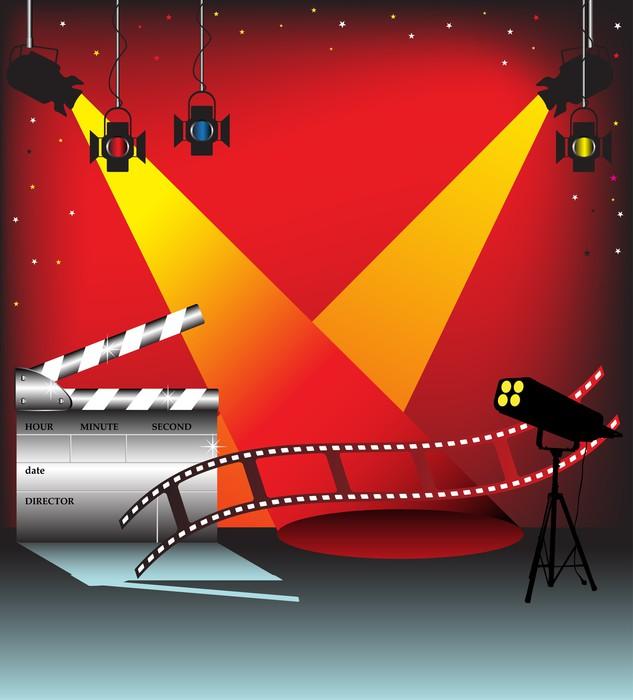 Tableau sur Toile Lumières de la scène colorés, bande de film et clap - Thèmes