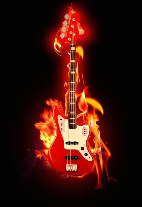 Vinylová Tapeta Flaming Guitar - Témata