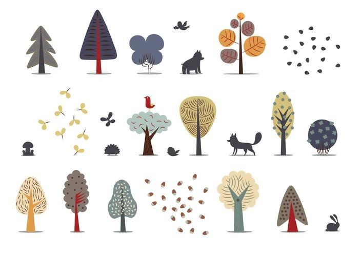 Pixerstick Sticker De vector illustratie van platte bos elementen - diverse bomen, wilde dieren en seeds._ - Bloemen en Planten
