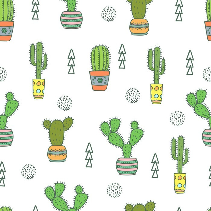 Cactus Seamless Pattern Doodle Colorful Flowers In Pots