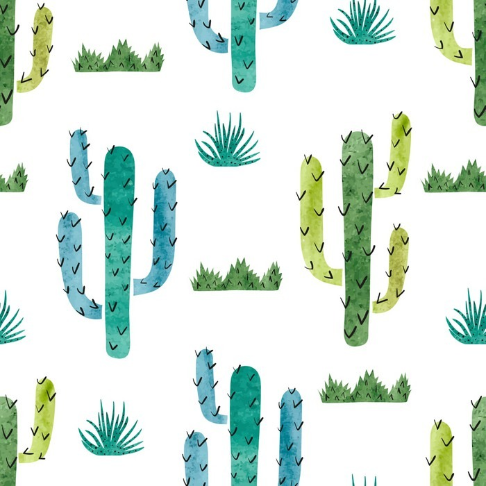 tableau sur toile aquarelle cactus pattern vecteur de fond de cactus vert et bleu isol sur. Black Bedroom Furniture Sets. Home Design Ideas