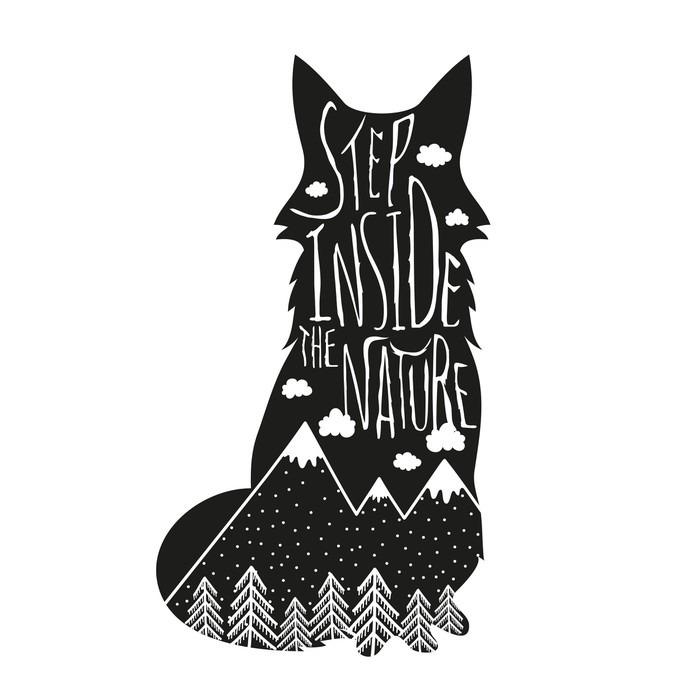 Papier Peint Vinyle Vector dessiné à la main lettrage illustration. Entrez dans la nature. affiche Typographie renard, montagnes, forêt de pins et de nuages. - Animaux