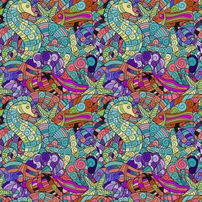 Nálepka Pixerstick Mořský život doodle bezproblémové vzor vektor - Zvířata