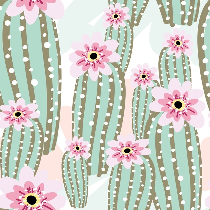 Cactus with pink flowers on the light background vector seamless cactus with pink flowers on the light background vector seamless pattern with cacti poster mightylinksfo