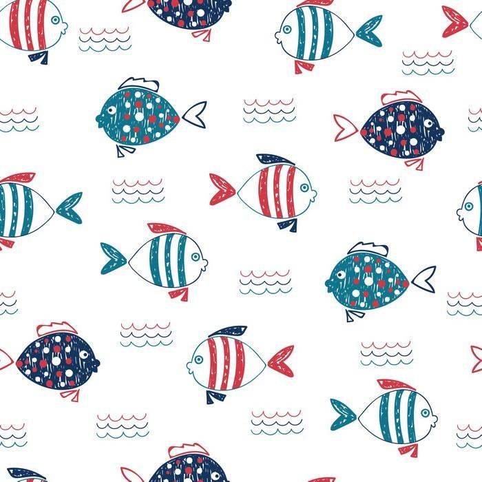 Fototapete Nette doodle Fisch nahtlose Muster. Vector marine ...