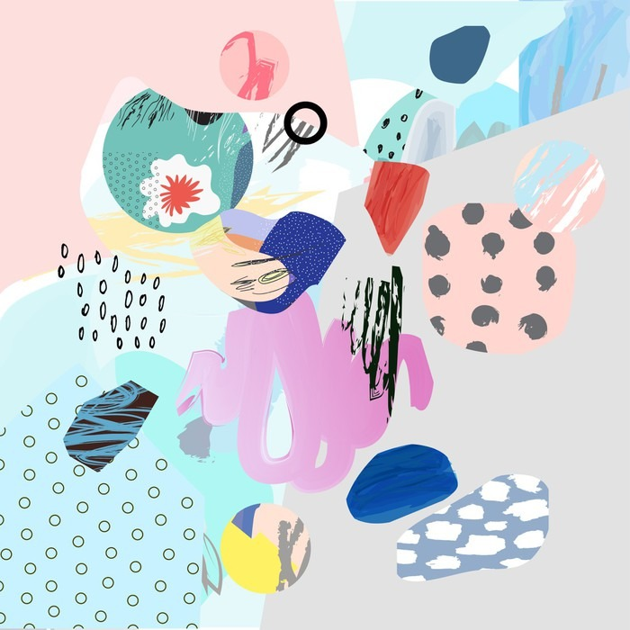 Papier Peint Vinyle Collage créatif Trendy avec différentes textures et de formes. conception graphique moderne. L'œuvre insolite. Vecteur. Isolé - Ressources graphiques