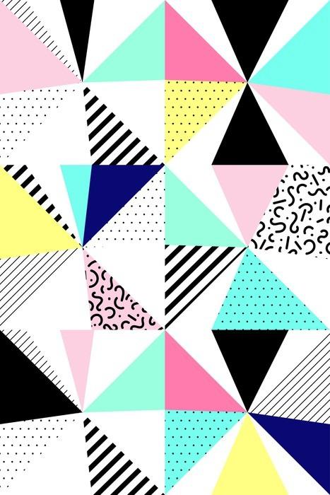 Fototapete vector nahtlose geometrische muster memphis for Wohnzimmer 80er stil