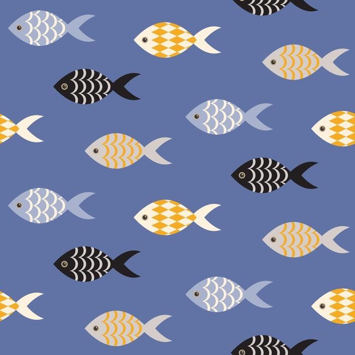 papier peint vecteur noir et blanc poisson seamless cole de poisson en rang es sur motif bleu. Black Bedroom Furniture Sets. Home Design Ideas