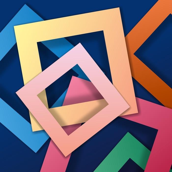 Vinilo Pixerstick Fondo de formas cuadradas de color, marco colorido ...