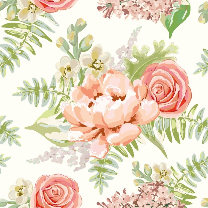 Pale pink bouquets on the white background. Vector seamless pattern with delicate flowers. Peony, rose, lilac, gillyflower. Pastel colors. Hand drawn illustration. Vinyl Wall Mural - Plants and Flowers