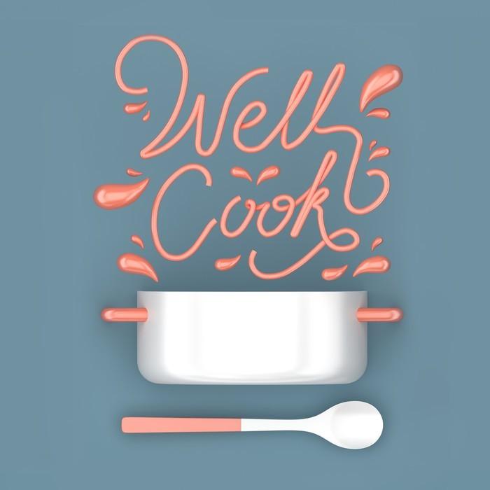 Carta da parati bene cucinare citazione con vaso moderno for Cucinare in 3d