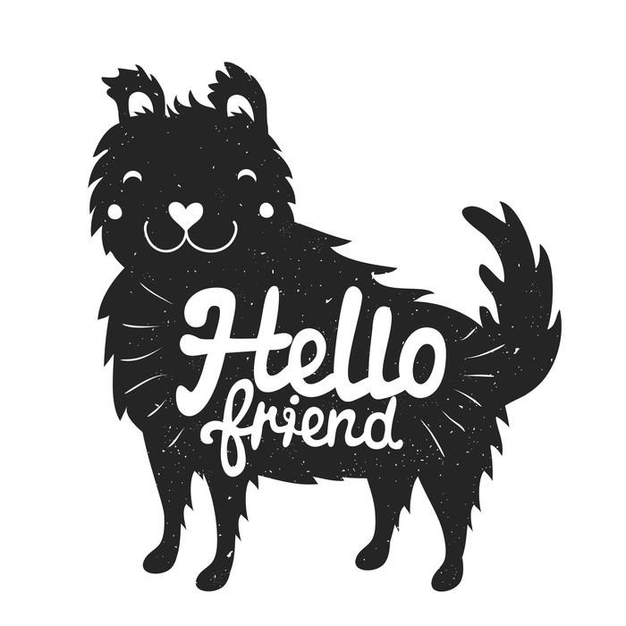 Vinylová Tapeta Smajlíky pes a nápisy text - hello friend - Zvířata