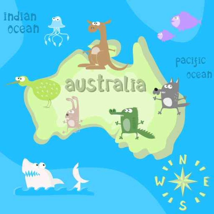 Concept design map of australian continent with animals drawing in ...