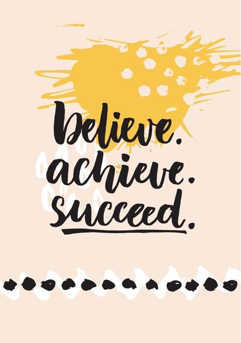 Papier Peint Vinyle Croyez, réaliser, réussir. Citation inspirée de la vie, en disant défi positif. Brush lettrage à fond abstrait graphique moderne. - Passe-temps et loisirs