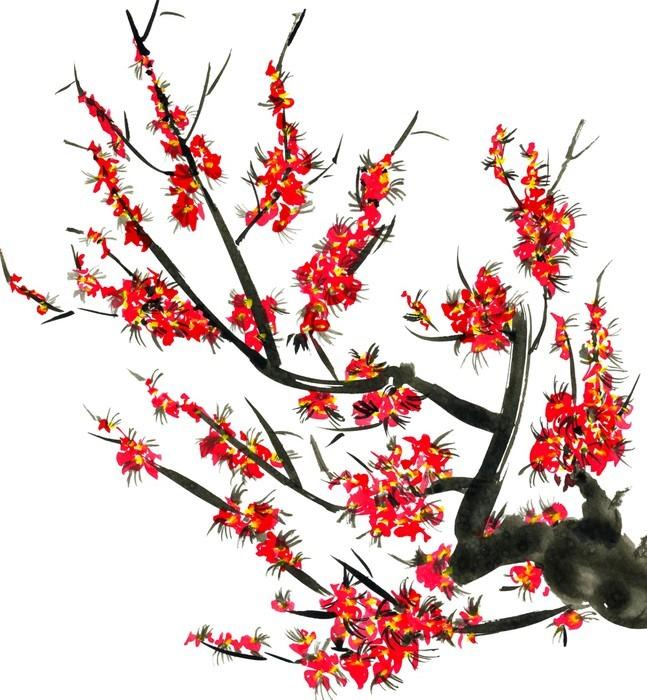 papier peint une branche d 39 un arbre de la floraison fleurs roses de sakura aquarelle et encre. Black Bedroom Furniture Sets. Home Design Ideas