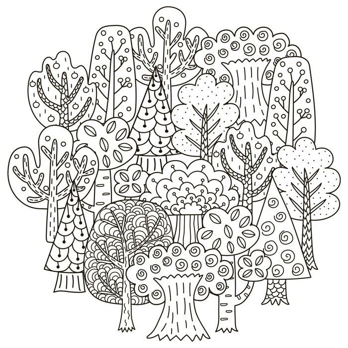 Fotomural El patrón de forma de círculo con árboles de fantasía para ...