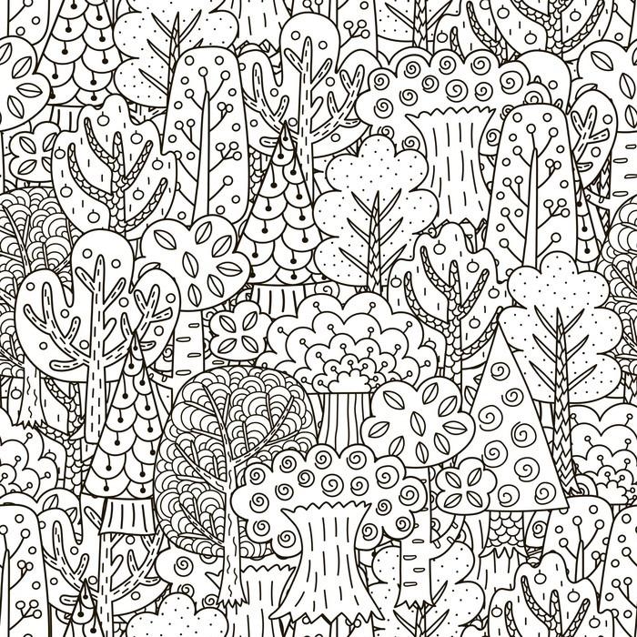 Papier peint motifs fantasy forest seamless noir et arbres fond blanc pixers nous vivons - Papier peint motif arbres ...