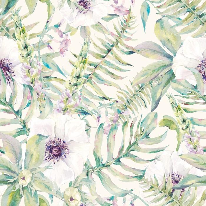 Vinyl Fotobehang Het blad van de waterverf naadloze patroon met varens en bloemen - Bloemen en Planten