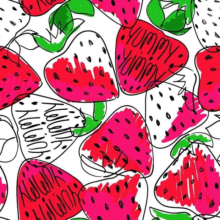 Carta da parati colorata sketch seamless di fragole for Carta da parati colorata