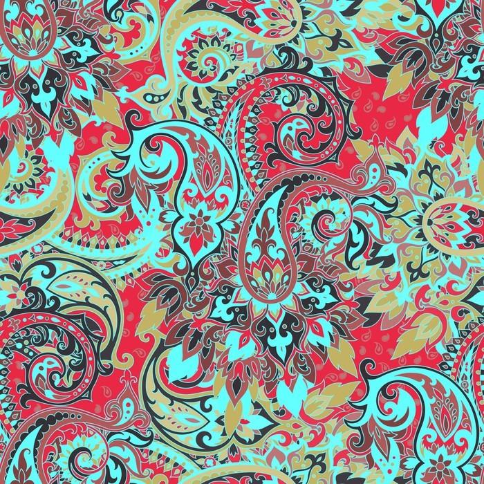 Nálepka Pixerstick Bezešvé Paisley vzor - Rostliny a květiny