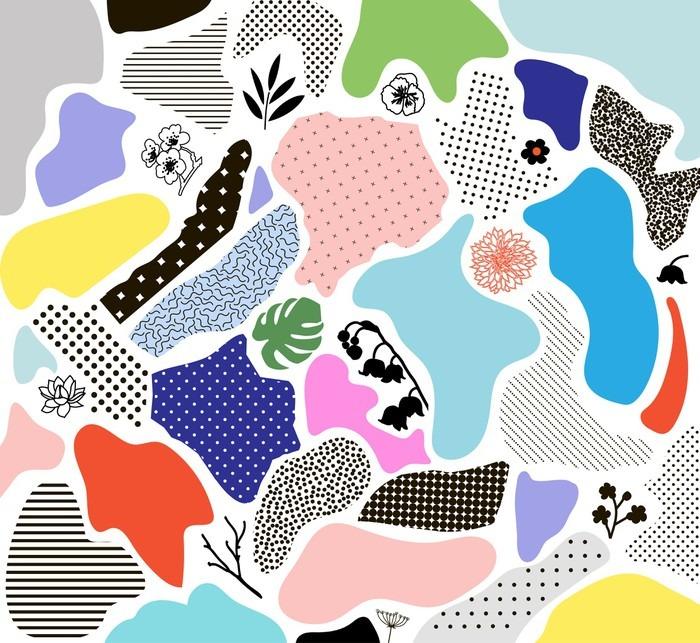 Papier Peint Vinyle Fond géométrique Creative avec des éléments floraux et des textures différentes. Vecteur - Ressources graphiques