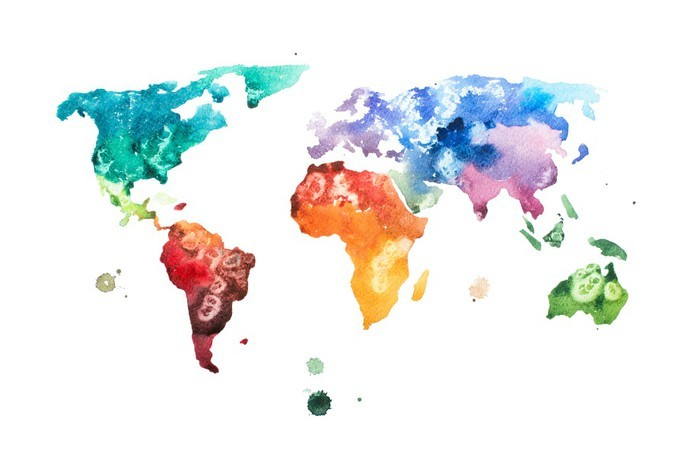 Hand drawn watercolor world map aquarelle illustration wall mural hand drawn watercolor world map aquarelle illustration vinyl wall mural hobbies and leisure gumiabroncs Gallery