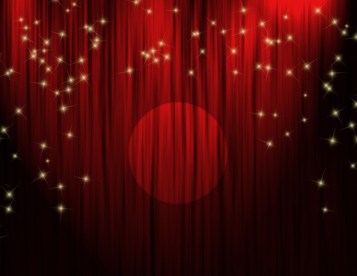 Red Theater Curtains Vinyl Wall Mural
