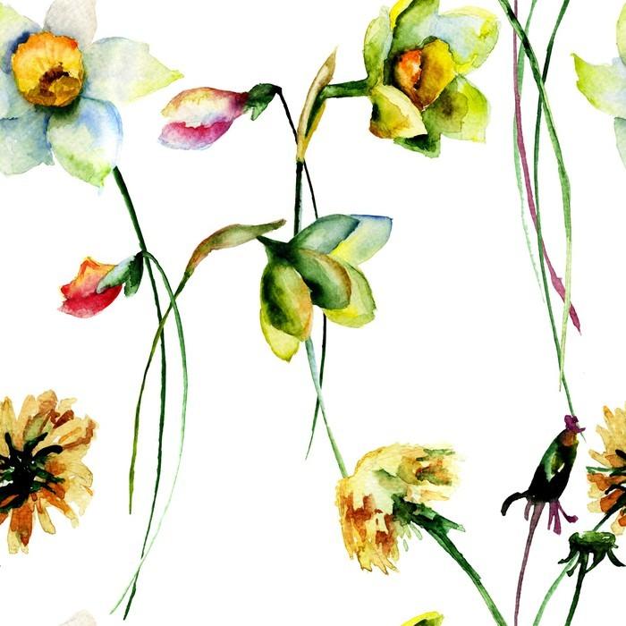 tableau sur toile seamless avec narcisse et de pissenlit fleurs pixers nous vivons pour changer. Black Bedroom Furniture Sets. Home Design Ideas