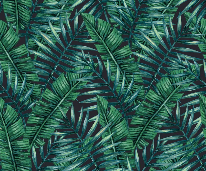 Nálepka na Notebook Akvarel Tropické palmové listy bezproblémové vzor. Vektorové ilustrace. - Grafika