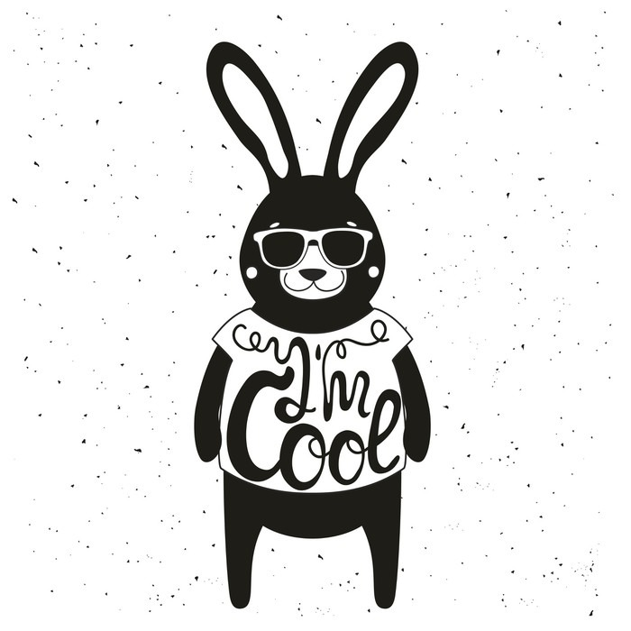 Vintage Typography Poster With Stylish Rabbit In Sunglasses Im Cool Lettering Quote
