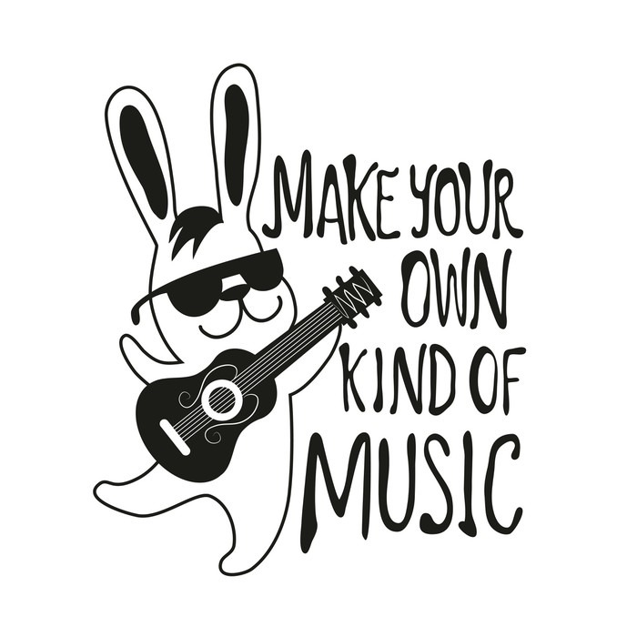 Vector illustration with rabbit playing guitar Make your own kind