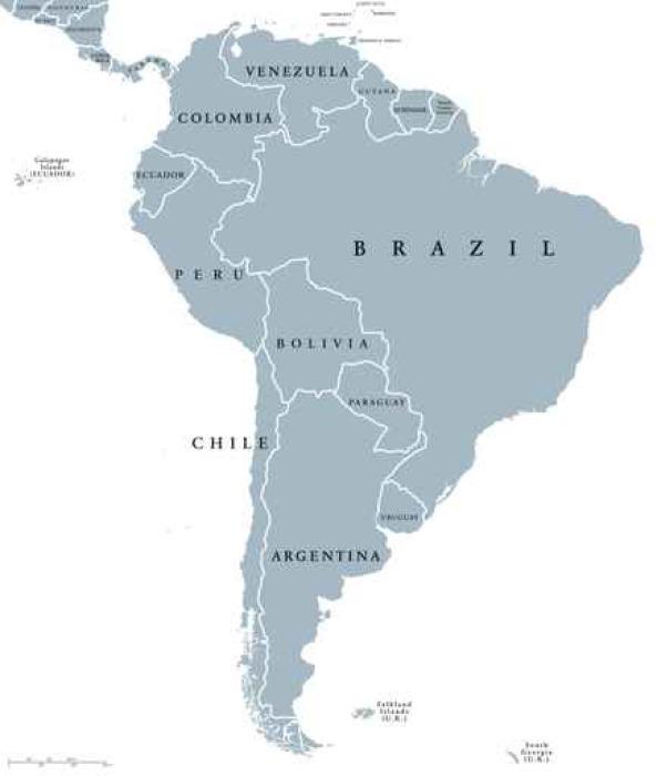 tableau sur toile les pays d 39 am rique du sud carte politique avec des fronti res nationales. Black Bedroom Furniture Sets. Home Design Ideas