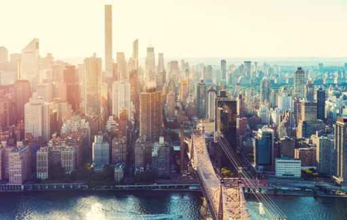 aerial view of the new york city skyline wall mural pixers we