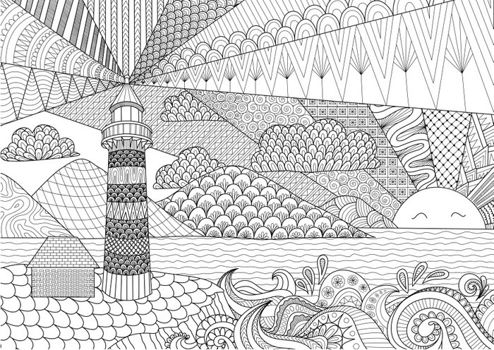 Seascape line art design for coloring book for adult, anti stress ...